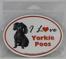 """I Love Yorkie Poos Dog Magnet Magnetic Sticker Oval 5.25"""" x 3.75"""" NEW"""