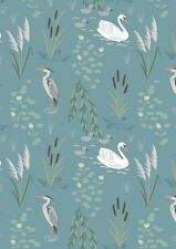 By 1/2 Yard ~ Down by the River Swan and Heron Teal ~ Lewis & Irene Fabric