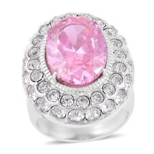 PINK POSH DIAMOND SIMULATE WHITE CLEAR AUSTRIAN CRYSTAL STAINLESS STEEL RING 6