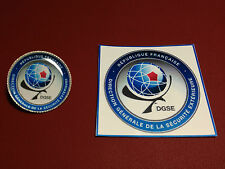 DGSE ( French Secret Police  Agency) Gold & Silver  Plated Badges with sticker