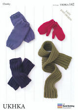 Chunky Knitting Pattern UKHKA 142 Easy Knit Childrens Mittens Leg Warmers Scarf