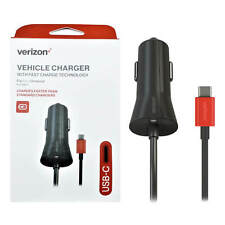Verizon OEM Type-C Vehicle Charger Cable Fast Charge Galaxy S8 S9 S9+ Note 8