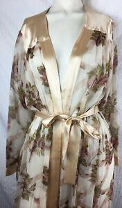 M Neiman Marcus 100% Sheer Silk Robe Rose Floral Print Romantic Chiffon