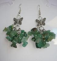 Edel Ohrringe JADE Anhänger grün Steinschmuck Tibet Silber Schmetterling NEU