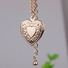 """Gold Plated Heart Small Locket Picture Photo Pendant Necklace 18""""+2"""" N66"""