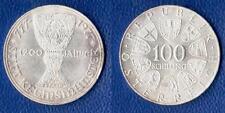 100 SCELLINI ARGENTO 1977 AUSTRIA 1200th Anniversary KREMSMUNSTET SILVER PLATA