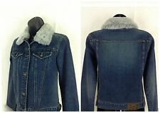 DKNY Jeans Denim Jacket Blue Faux Fur Size XS