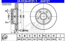 2x ATE Discos de freno delanteros Ventilado 260mm 24.0124-0121.1