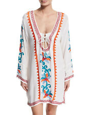 NWT $276 Letarte White Embroidered Beaded Tunic Kaftan Dress Swimsuit Cover-up S