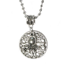 """HP Lovecraft Cthulhu Round Coin Medallion Pendant Silver Plated 18"""" Necklace"""