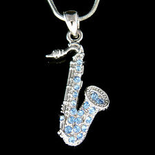 w Swarovski Crystal TENOR ALTO ~Baby Blue SAXOPHONE~ Musical Instrument Necklace