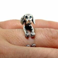 Weimaraner Ring in Sterling Silver, Weim, Grey Ghost Ring With Cubic Zircon Eyes
