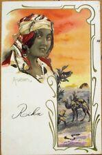Art Nouveau 1903 Postcard: Arabien/Arabian Woman, Applied Glass & Glitter, Litho