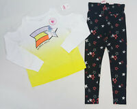 NWT Justice Girls Size 8 10 or 18/20 Yellow Sequin Shoulder Top & Star Leggings