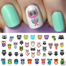 Owl Assortment Nail Art Waterslide Decals Set #2 -  Salon Quality!