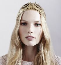 Jennifer Behr Gold Tone Margaritte Art Deco Style Headband Crown Tiara