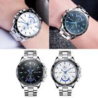 Luxury Men Stainless Steel Military Waterproof Sport Analog Quartz Wrist Watch