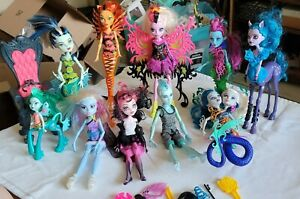 Monster High Doll Lot Of 9 plus accessories, chair, mini figure, water