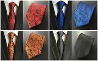 Paisley Tie Red Orange Yellow Blue White Pink Green Patterned 100% Silk Necktie