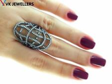 BLACK GOLD RHODIUM OVER 925 STERLING SILVER RING SZ 8 HIGH QUALITY JEWELRY R2280