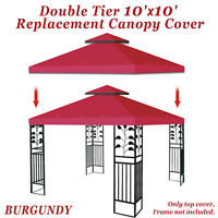 Double Canopy Replacement Top 10'x10' Patio Gazebo Sunshade Polyester Cover