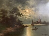 J. S. Sander d.i. Johann JUNGBLUTH Antik Alt Ölgemälde Landschaft See Boote