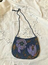 NWOT Blue Copper Purple Hand Beaded Flowers Small Crossbody Purse Bag