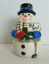 2013 Mr Christmas Porcelain Snowman Hinged Music Box- 'We wish you a merry xmas'