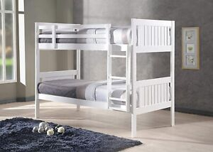 Glory Single Bunk Bed in White   Standard Two Sleeper 3' Solid Pine Wood Frame