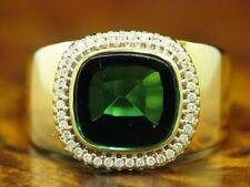 14kt 585 Gelbgold Ring mit 0,20ct Brillant und 3,60ct Turmalin Besatz / RG 59