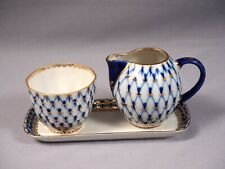Lomonosov Russian Porcelain Cobalt Net Sugar Bowl Cream Jug Plate Gold