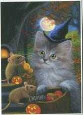 New listing Aceo Cat Kitten Fluffy Gray Halloween Trick Or Treat Candy Pumpkin Mouse Print