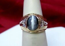 14K YELLOW GOLD GRAY CAT'S EYE CABOCHON AND DIAMOND RING SIZE 4.25