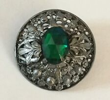 Large Old Pierced Metal Green Glass Jewel Botanical Button Openwork Dome