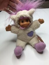 "Russ 7"" Cloth Lamb Troll Has Purple Hair New With Tags"