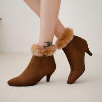 Plus Size Womens Back Zip Ankle Faux Fur Boots Pointed Toe Kitten Heel Booties