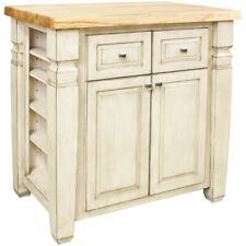 "34"" x 22"" French White Wood Kitchen Island Cabinet Antique Furniture ISL12-FWH"