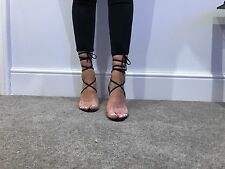 Size 7 Miss Pap Black Perspex Tie Around Heels Shoes New Sandals Clear Stiletto