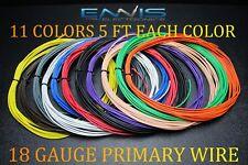 18 GAUGE WIRE 55 FT ENNIS ELECTRONICS 5 FT EA 11 COLORS AWG COPPER CLAD