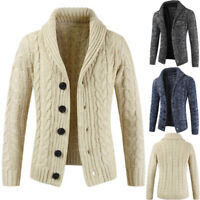 Men's Chunky Collar Cardigan Sweater Shawl Knitted Jumper Coat Jacket Warm Tops