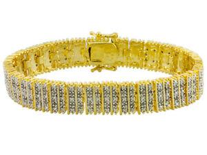 Emulous 1.00ctw Round White Diamond 14k Yellow Gold over Brass Bracelet DOCHM8-7