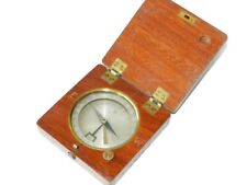 WWI 1910s Antique Travel Compass Magnetic Detailed Degrees Hinged Wooden Case