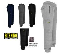 SITE KING Mens Cargo Combat Work Tracksuit Jogging Bottoms Knee Pad Pockets 019