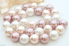 """12mm White Pink Purple Mother Of Pearl Shell Round Gemstone Loose Beads 15"""""""