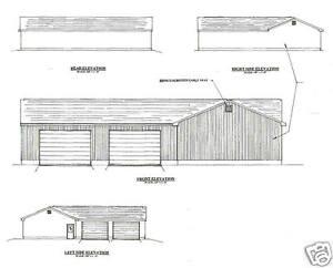 60' x 56' Six Plus Stall ' L' Shape Garage Building Plans