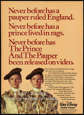 THE PRINCE AND THE PAUPER__Original 1985 video print AD / advert promo__Disney