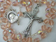 Catholic Rosary ROSE PINK 7mm AB glass beads Italy nice Crucifix medal NOS