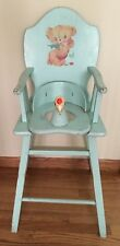 Vntg 1950's Wooden High Chair/Potty Chair Light Blue with Bird Head Seat