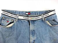 VTG Tommy Hilfiger Mens Spell Out Jeans Sz 40x30 Waist Logo Blue Denim EUC!