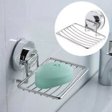 SUCTION STAINLESS STEEL SOAP HOLDER DISH BATHROOM STORAGE TRAY RACK WALL MOUNT
